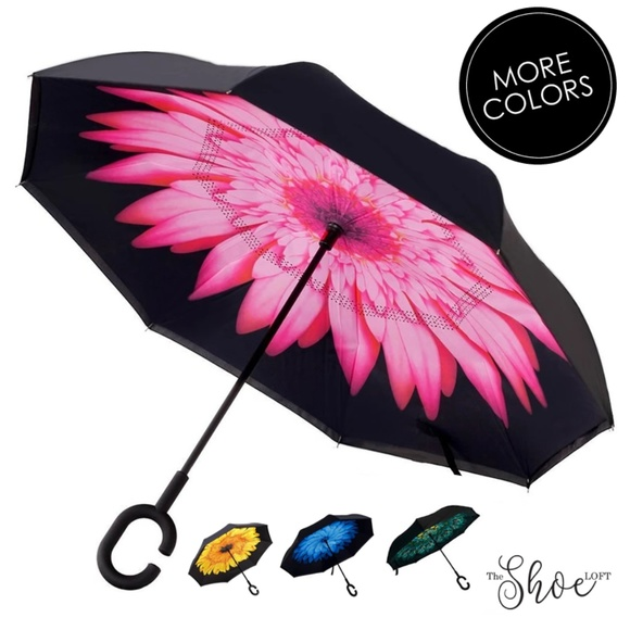 Pink Daisy Double Layer Inverted Umbrella
